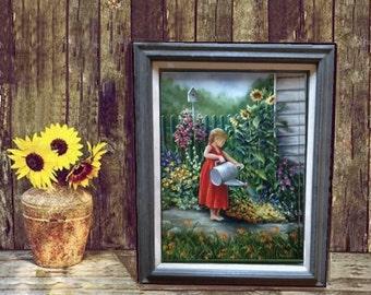 Grandma's Garden, Original oil painting by Linda Maravich, 18 x 24 with frame, girl watering the garden, rustic farmhouse art, garden art
