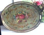Rare Antique French Serving Tray, Oval, hand-painted toleware w/piercing