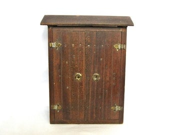 Vintage wooden box / wardrobe like a gate Doll cabinet