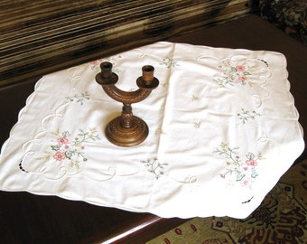 Vintage embroidered tablecloth Romantic dinner