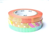 Thin Washi Tape - Slim MT Green Silver Collage Orange Gold Collage Patchwork Masking Tapes - 10 meters