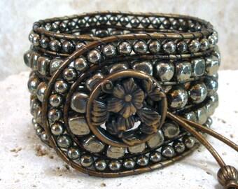 "Pyrite Handmade Beaded Leather Slim 6-1/2"" Cuff Style Single Wrap Bracelet"