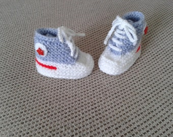 baby boy hand knitted booties