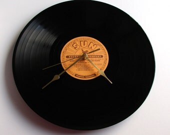 "Jerry Lee Lewis Vinyl Record CLOCK made from recycled 12"" album,. On the SUN label. Cool retro look..."