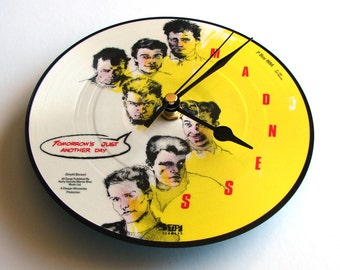 """MADNESS Vinyl Record CLOCK """"Tomorrows Just Another Day"""". Made from a recycled 7"""" picture disc single. Fun gift for co workers, brother, etc"""