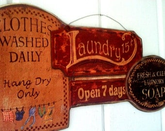 Laundry Room Picture Plaque , Laundry Soap , Clothes Washed Daily ,  Handmade in the USA