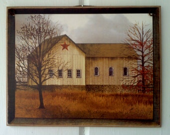 Billy Jacobs Star Barn Picture / Art Adhered To Wood / Ready To Display Plaque / Primitive Folk Art  / Gift / White Barn /  Handmade in USA