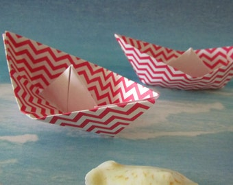 6 paper boat origami decoration photo prop art supply party decor pink chevron