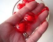 Red Translucent Beads, 22mm Pumpkin Beads, 6 pcs, Ridged Beads, Bead in Bead, Corrugated Beads, Melon Beads, Gumball Beads, Bubblegum Bead