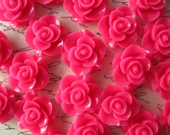 Resin Rose Flower, 10pcs Hot Pink Resin Flower Cabochon, Perfect for Bobby Pins, Rings, Earrings