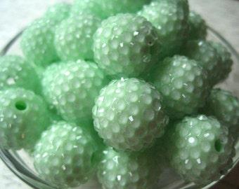 Mint Green Disco Ball Bead, Rhinestone Bead, 10 pcs, 20mm Bumpy Chunky Necklace Bead, Gumball Beads, Bubblegum Bead, Acrylic Bead