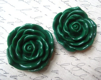 45mm Dark Green Jumbo Rose Beads, 2pcs, Christmas Green, Large Flower Bead, Chunky Beads, Necklace Focal Beads, Acrylic Beads