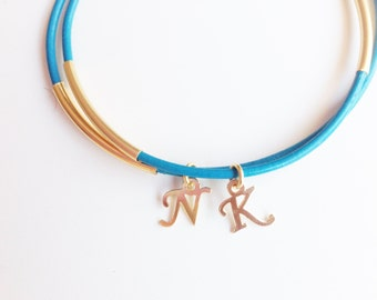 personalized bridesmaids gifts -  Turquoise leather Bracelet - 24k mate gold plated