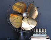 Vintage oscillating Emerson Electric fan with brass blades / industrial decor reserved for Leila!