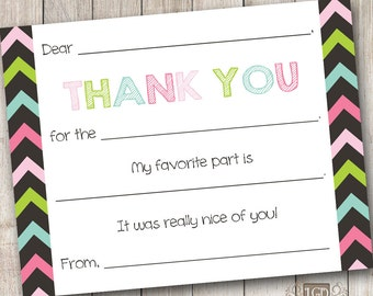 Medley Chevron 1 Fill in the Blank Thank You Card - Digital File (Print Your Own) - INSTANT DOWNLOAD