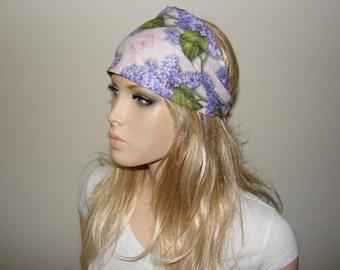 purple floral headband, Lilac Butterfly Head Wrap, Blue Pink Head Scarf, Wide Woman Headband, Purplen Turban Headband Yoga Headband tribal