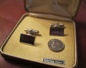 SALE!! Sterling Silver Cuff Links by Ballou in Case