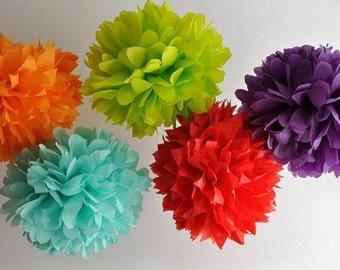 10 tissue paper Pom Poms -You choose COLORS. tissue paper poms // diy // wedding decoration // baby shower // party decor // gender reveal