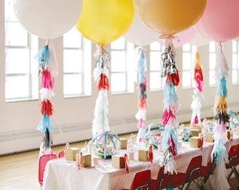 """36"""" Giant Balloon With Balloon Tassels balloon tails- balloon tassles"""