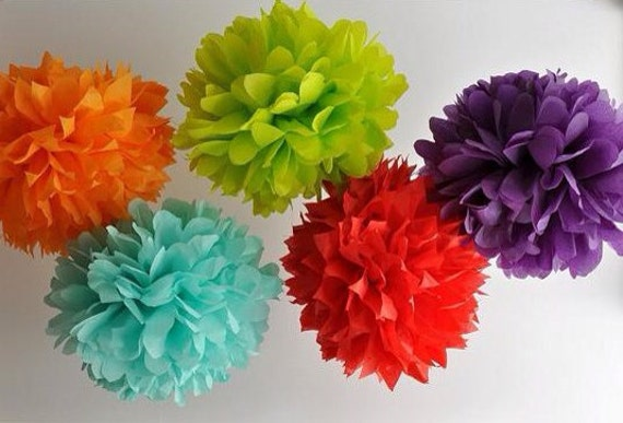 10 tissue paper Pom Poms -You choose COLORS. tissue paper poms // diy // wedding decoration // baby shower // party decor // gender reveal
