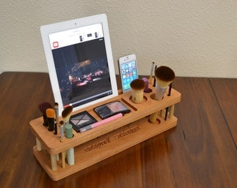 Make-up Organizer, Beauty Station iMake-Up Station, Valentine Gift  for Her, Christmas Gift, iPad Station, iPhone any Tablet any Smartphone