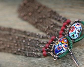 Rustic Bohemian Jewelry ' The Verb Flower ' earrings n29 -  Vintage Floral Millefiori . Floral Jewelry .  Bohemian Boho . Festive Colorful