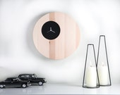 Wall Clock Double Circle Black edition natural solid wood with a small face to appreciate beauty of wood (time is irrelevant) - DesignAtelierArticle