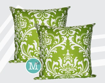 Chartreuse Green Damask Pillow Covers - 20 x 20 and More Sizes - Zipper Closure
