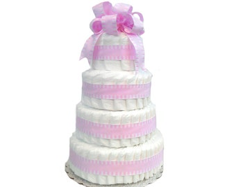 4 Layer Pink - Classic Pastel Baby Shower Diaper Cake