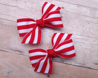 Adorable red & white striped pigtail bows, red striped bows, toddler bows, pigtail bows, baby bows, small bows, girls hair bows, red bows