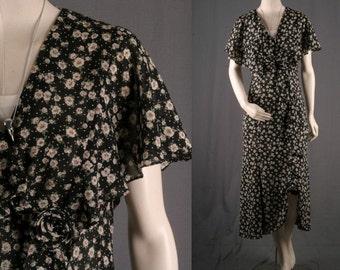 SALE - Black Floral Dress  blue daisy flowers white midi grunge boho bohemian gypsy size S small