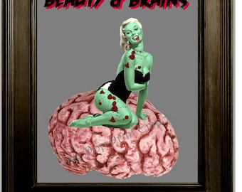 Zombie Pin Up Art Print 8 x 10 - Beauty & Brains - Blonde Zombie Pinup Girl on Brain - Horror Goth