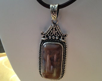 """Natural Amethyst Agate Stone Bali 925 Sterling Silver Pendant 18"""" Inch Necklace"""