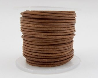2mm Genuine Antique Tan Leather Cord -10 Yard Spool#125-240910