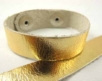 "Metallic Gold Leather Cuff Bracelet 5/8"" Wide, #50-85831006"