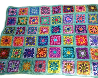 Crochet afghan kaleidoscope granny square 40 in. x 50. in. seafoam border, MADE TO ORDER