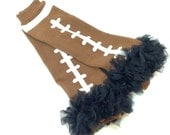 Football Leg Warmers with Navy Ruffle, Ruffled Leg Warmers Infant, Baby, Toddler, Preteen, Arm Warmers