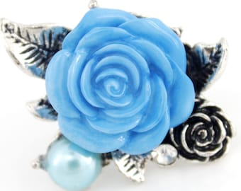 Beautiful Silver-tone Blossom Pink/Blue Rose Ring,Adjustable