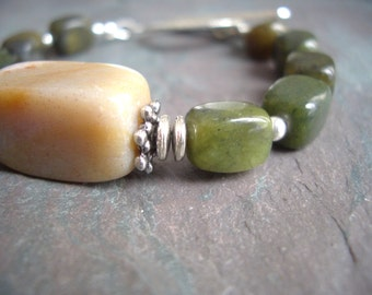 "Green Jungle Jasper Bracelet / One-of-a-Kind / Tan / Fancy Jasper / Stone / Silver Beads / Hammered / Toggle - 7"" long - B48"