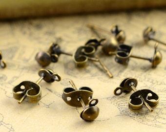 Earring Studs 50pcs 4.5x12mm Antique Bronze Earring Studs