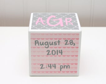 Baby Birth Stats Block - 3 Inch Cube  - Custom Wood Block