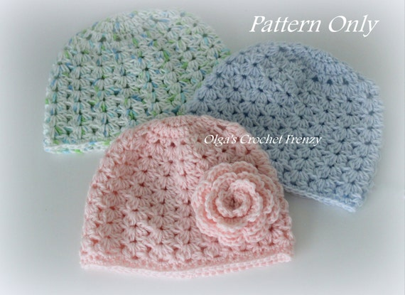 Crochet Baby Hat Pattern, Size 3 -6 Months, Very Detailed Pattern in PDF Format, Instant Download