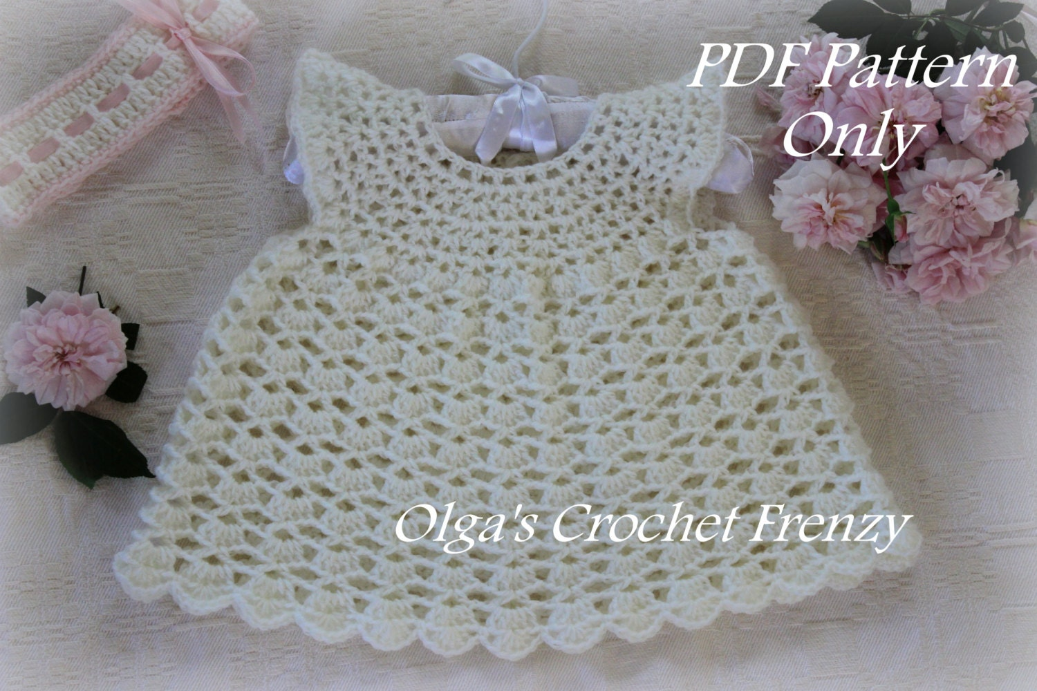 Pinafore style lace baby dress crochet pattern size 0 3 zoom bankloansurffo Choice Image