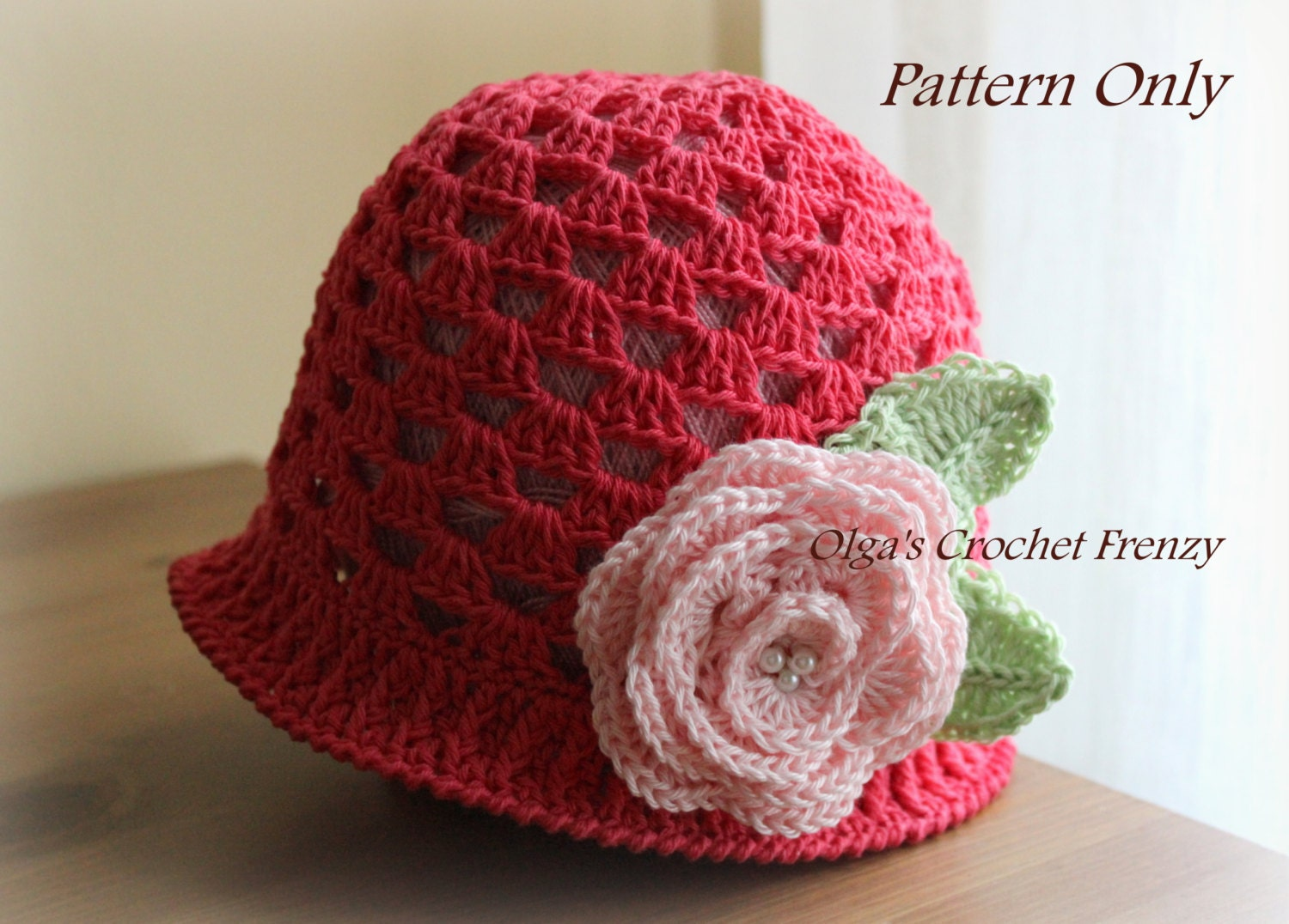 Crochet Hat Patterns For One Year Old : Girls Summer Hat Crochet Pattern Size 3-5 Years Old