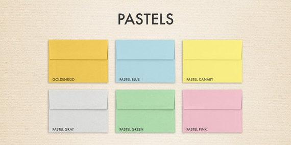 A6 Invitation Envelopes (4 3/4 x 6 1/2) - Pastels Collection (50 Qty.)