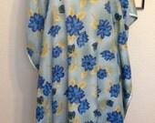 Blue Floral Satin Mumu 2x Large