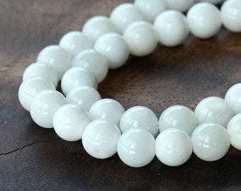 Shell Beads, White, 6mm Round - 16 Inch Strand - eSH001-6