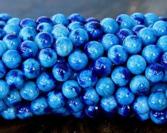 Mountain Jade Beads, Dark Blue Mix, 6mm Round - 15.5 Inch Strand - eMCJ-112-6