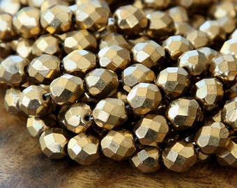 Bronze Metallic Czech Glass Beads, 8mm Faceted Round - 25 pcs - e90215-8