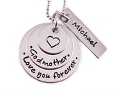 Personalized Godmother Necklace - Hand Stamped Jewelry - Personalized Jewelry - Love You Forever - Godmother Jewelry - Godmom Gift For Her
